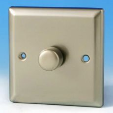 Varilight V-Pro 1 Gang 2 Way 400W Push on/off LED Dimmer Light Switch Satin Chrome JNP401